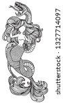 tattoo art mermaid hand drawing ... | Shutterstock .eps vector #1327714097