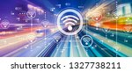 wifi concept with abstract high ... | Shutterstock . vector #1327738211