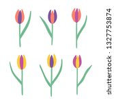 colorful tulips hand drawing... | Shutterstock .eps vector #1327753874