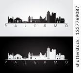palermo skyline and landmarks... | Shutterstock .eps vector #1327769087