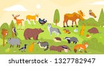 Stock vector vector collection of forest animals and birds bear fox hare owl isolated on woodland landscape 1327782947