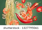 noodles with shrimp and chili... | Shutterstock .eps vector #1327795061