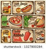 wall of fast food signs vintage | Shutterstock .eps vector #1327800284