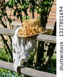 beautiful straw hat with... | Shutterstock . vector #1327801694