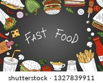 vector fast food   top view on...   Shutterstock .eps vector #1327839911