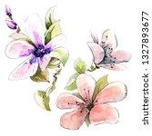 pink flowers watercolor | Shutterstock . vector #1327893677