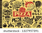Pizza symbols, logos, signs, icons, emblems, ingredients and design elements collection. Vector food illustration.