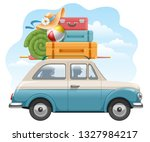 family travels by car. many... | Shutterstock .eps vector #1327984217