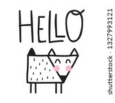 cute fox say hello.... | Shutterstock .eps vector #1327993121