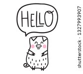 cute pig say hello.... | Shutterstock .eps vector #1327993907