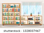 library room interior stack of... | Shutterstock .eps vector #1328037467
