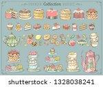 hand drawn set of sweet food...   Shutterstock .eps vector #1328038241