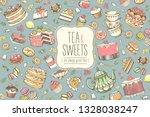 hand drawn set of sweet food... | Shutterstock .eps vector #1328038247