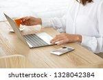 female graphic designer working ... | Shutterstock . vector #1328042384