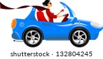 beautiful woman driving a blue... | Shutterstock .eps vector #132804245