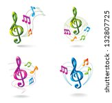 set of color music icons. | Shutterstock .eps vector #132807725