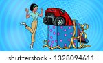 car holiday gift box. african... | Shutterstock .eps vector #1328094611