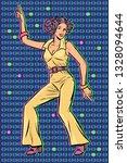 girl in pantsuit. woman disco... | Shutterstock .eps vector #1328094644
