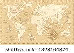 vintage world map. ancient... | Shutterstock .eps vector #1328104874