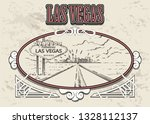 las vegas road with sign sketch.... | Shutterstock .eps vector #1328112137