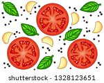 fresh red tomato slices with... | Shutterstock .eps vector #1328123651