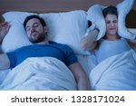 man snoring in the bed because... | Shutterstock . vector #1328171024