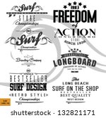 vector retro surf label set. | Shutterstock .eps vector #132821171