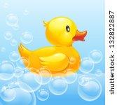 rubber duck in blue water. 10eps | Shutterstock .eps vector #132822887