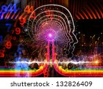 Composition of lines of human head, fractal grids and technology related symbols on the subject of artificial intelligence, science, education and technology - stock photo