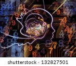 Composition of lines of human head, fractal grids and technology related symbols suitable as a backdrop for the projects on artificial intelligence, science, education and technology - stock photo
