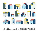 minimal flat houses. simple... | Shutterstock .eps vector #1328279024