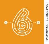number six shape maze labyrinth ... | Shutterstock .eps vector #1328281907