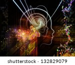 Arrangement of lines of human head, fractal grids and technology related symbols on the subject of artificial intelligence, science, education and technology - stock photo