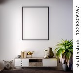 mock up poster frame in... | Shutterstock . vector #1328309267