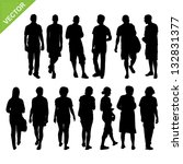 peoples silhouettes vector | Shutterstock .eps vector #132831377