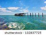 abandoned wooden ruin on sea.... | Shutterstock . vector #132837725
