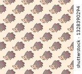 cute hedgehog seamless pattern. ... | Shutterstock .eps vector #1328390294