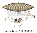 vintage aerostat or zeppelin ... | Shutterstock .eps vector #1328393357