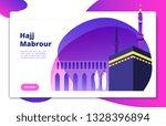 hajj concept. umrah hajj pray... | Shutterstock .eps vector #1328396894