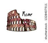 colosseum in rome on a white... | Shutterstock .eps vector #1328407511