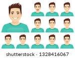 young man with different facial ... | Shutterstock .eps vector #1328416067