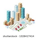 flat isometric style city... | Shutterstock .eps vector #1328417414