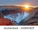 gullfoss waterfall at sunset in ...