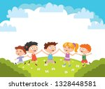 kids. boys and girls plays and... | Shutterstock .eps vector #1328448581