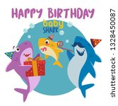 happy birthday baby shark.... | Shutterstock .eps vector #1328450087