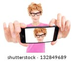 Funny Nerdy Guy Is Taking A...