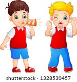 cartoon boy blowing at the... | Shutterstock .eps vector #1328530457