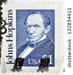 Small photo of USA-CIRCA 1989:A stamp printed in USA shows Johns Hopkins was a wealthy American entrepreneur, philanthropist and abolitionist of 19th-century Baltimore, Maryland, circa 1989.