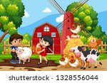 children in farm scene with...   Shutterstock .eps vector #1328556044