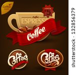 coffee badges set. vector | Shutterstock .eps vector #132856379